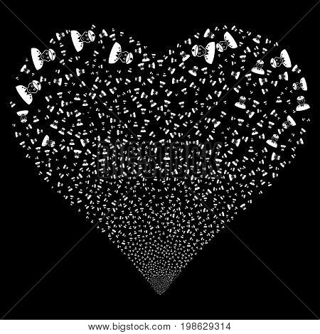 Army General fireworks with heart shape. Vector illustration style is flat white iconic symbols on a black background. Object stream created from confetti pictograms.