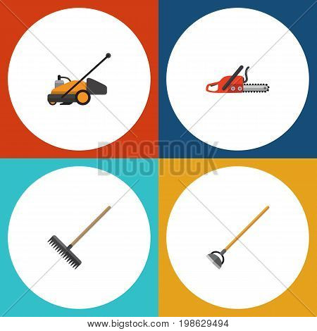 Flat Icon Garden Set Of Hacksaw, Harrow, Lawn Mower And Other Vector Objects