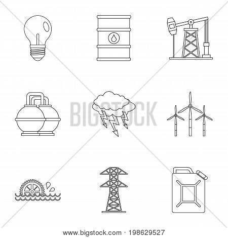Power industry icon set. Outline style set of 9 energy sources vector icons for web isolated on white background