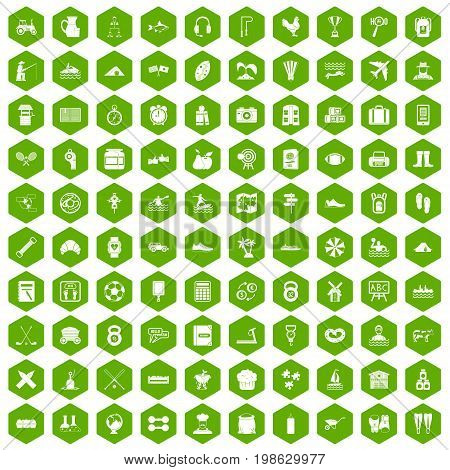 100 activity icons set in green hexagon isolated vector illustration