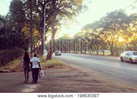 A tree-lined road in Harare, Zimbabwe at sunset