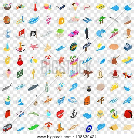 100 sea trip icons set in isometric 3d style for any design vector illustration