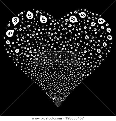Banking Map Marker fireworks with heart shape. Vector illustration style is flat white iconic symbols on a black background. Object love heart combined from confetti design elements.