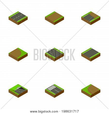 Isometric Road Set Of Unilateral, Rotation, Unfinished And Other Vector Objects