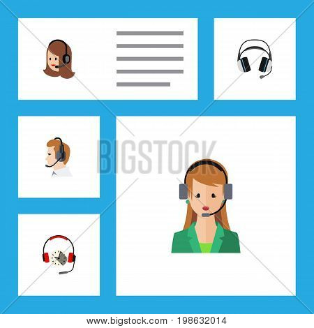 Flat Icon Telemarketing Set Of Secretary, Headphone, Telemarketing And Other Vector Objects