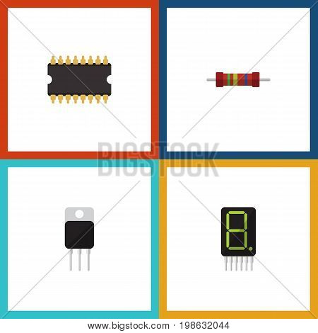 Flat Icon Electronics Set Of Resistance, Receiver, Microprocessor And Other Vector Objects