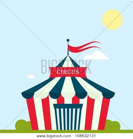 Circus tent marquee marquee with stripes and flags carnival entertainment amusement lelements flat vector. Circus tents entertainment, circus red tents. Carnival tents park arena celebration.