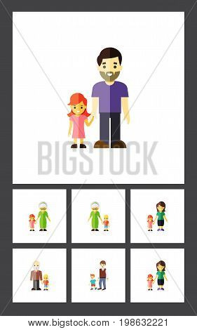 Flat Icon Family Set Of Grandchild, Daugther, Grandma Vector Objects