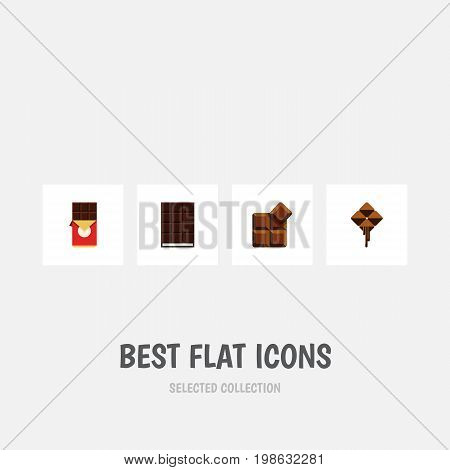 Flat Icon Chocolate Set Of Chocolate Bar, Cocoa, Delicious And Other Vector Objects