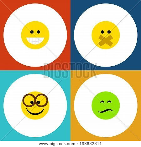 Flat Icon Expression Set Of Hush, Pleasant, Frown And Other Vector Objects