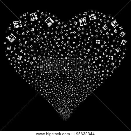 Chemistry fireworks with heart shape. Vector illustration style is flat white iconic symbols on a black background. Object heart constructed from random icons.