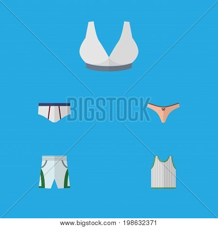 Flat Icon Clothes Set Of Lingerie, Underclothes, Trunks Cloth And Other Vector Objects