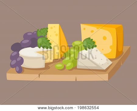 Delicious fresh cheese variety italian dinner grape flat dairy food and milk camembert piece different delicatessen gouda set isolated vector illustration. Traditional sort old cheddar delicious.