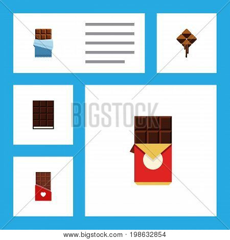 Flat Icon Chocolate Set Of Chocolate, Chocolate Bar, Bitter And Other Vector Objects