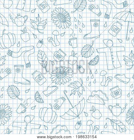 Seamless pattern on the theme of autumn a simple blue contour icons on the clean writing-book sheet in a cage