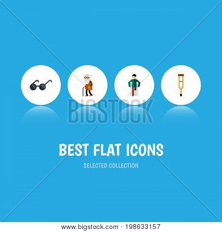 Flat Icon Disabled Set Of Injured, Ancestor, Spectacles And Other Vector Objects