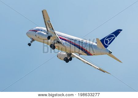 Moscow Region - July 21, 2017: New Russian passenger plane Sukhoi Superjet-100 flies in the sky at the International Aviation and Space Salon (MAKS) in Zhukovsky.