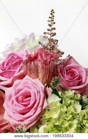Bouquet alstroemeria peony and rose on white isolated background