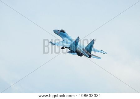 Moscow Region - July 21, 2017: Modern Russian strike fighter Su-35 at the International Aviation and Space Salon (MAKS) in Zhukovsky.