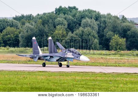 Moscow Region - July 21, 2017: Russian strike fighter Sukhoi Su-30