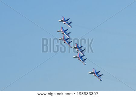 Moscow Region - July 21, 2017: Aerobatic display team Russian Knights on Su-30SM at the International Aviation and Space Salon (MAKS) in Zhukovsky.
