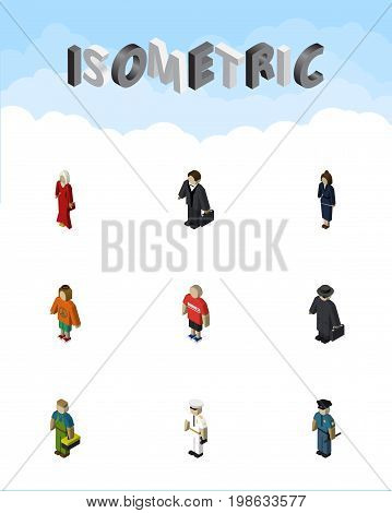 Isometric Human Set Of Guy, Detective, Lady And Other Vector Objects