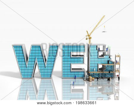 Web Development Concept Builders Are Working On The Inscription Web 3D Illustration On White