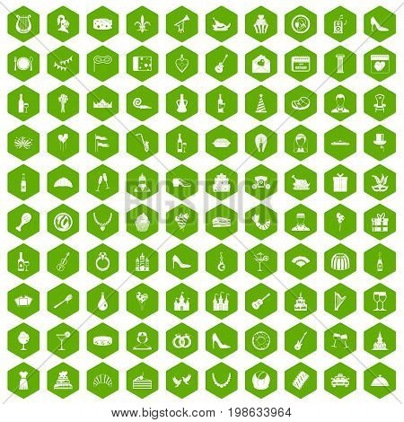 100 banquet icons set in green hexagon isolated vector illustration
