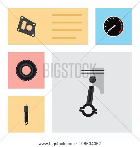 Flat Icon Component Set Of Gasket, Wheel, Combustion And Other Vector Objects