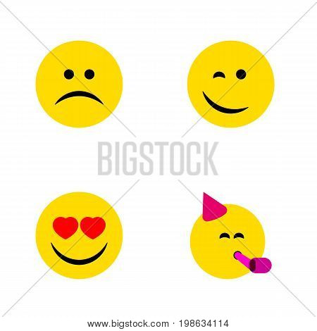Flat Icon Face Set Of Sad, Party Time Emoticon, Winking And Other Vector Objects