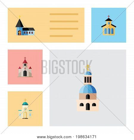 Flat Icon Building Set Of Church, Catholic, Religious And Other Vector Objects