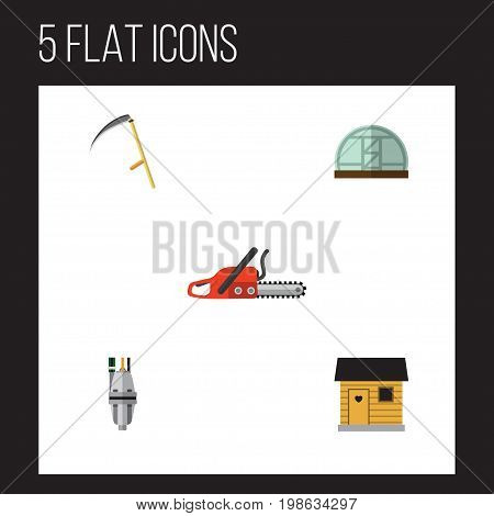 Flat Icon Garden Set Of Stabling, Pump, Cutter And Other Vector Objects