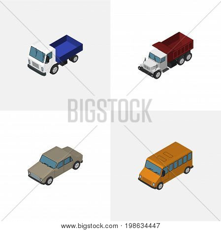 Isometric Transport Set Of Auto, Freight, Lorry And Other Vector Objects