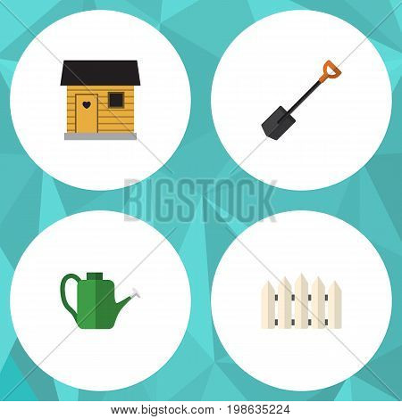 Flat Icon Farm Set Of Stabling, Bailer, Wooden Barrier And Other Vector Objects