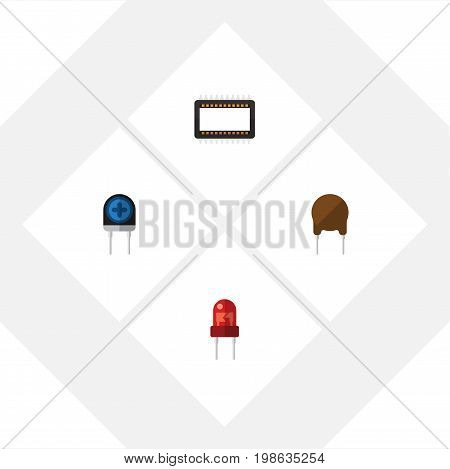 Flat Icon Technology Set Of Mainframe, Triode, Transducer And Other Vector Objects