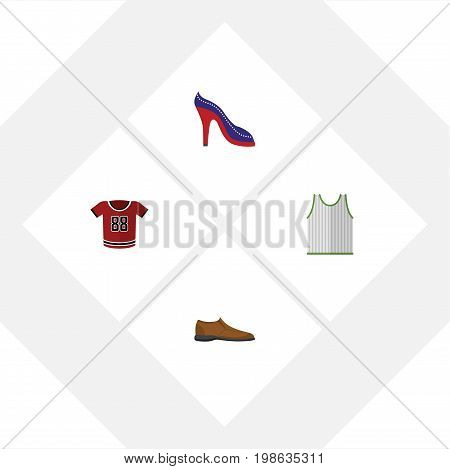 Flat Icon Dress Set Of Singlet, T-Shirt, Male Footware And Other Vector Objects