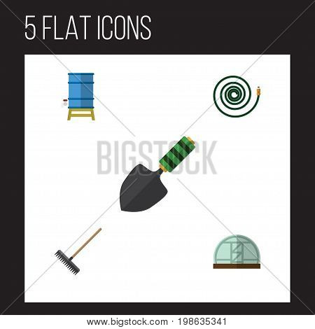 Flat Icon Garden Set Of Hothouse, Container, Harrow And Other Vector Objects