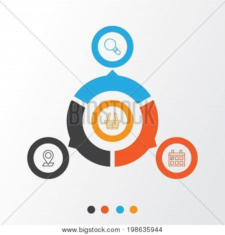 Network Icons Set. Collection Of Research, Calendar, Pinpoint And Other Elements