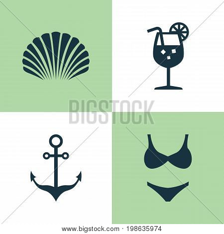 Season Icons Set. Collection Of Bikini, Armature, Conch And Other Elements
