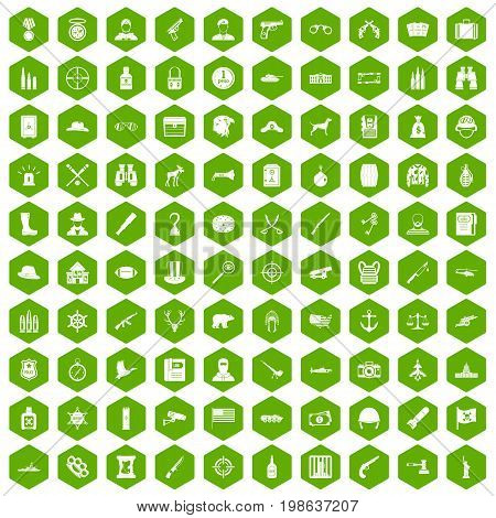 100 bullet icons set in green hexagon isolated vector illustration