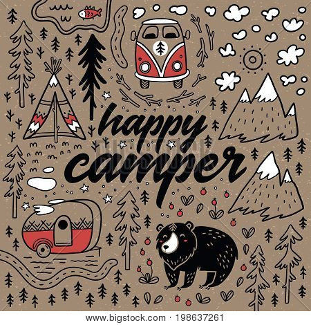 Happy camper. Hand drawn camping print. Vector illustration of funny map with nature, landscape, camping and cute animals in the forest.