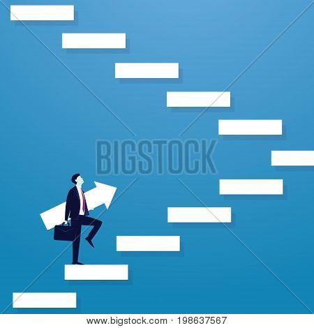 Vector illustration. Personal development concept. Future success. first step. Businessman start climbing stair for successfull career achievement, development growth progress vision future