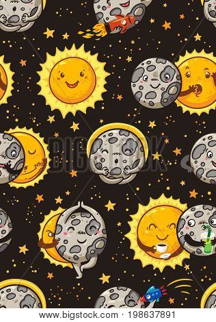 Solar Eclipse totality. Cartoon moon does yoga when it completely covers the happy sun. Funny vector seamless pattern