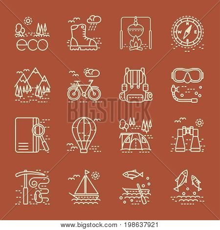 Eco tourism icons set on brown background. Collection of line style design element. Vector illustration