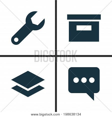 User Icons Set. Collection Of Base, Messenger, Wrench And Other Elements