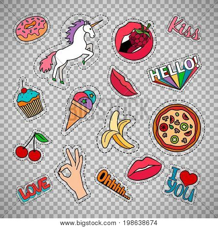 Funny quirky colorful food stickers set with pizza, cherry, ice cream and words. Vector patches and badges isolated on transparent background