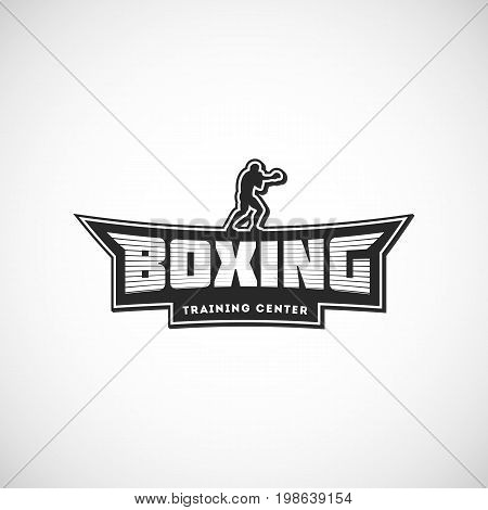 Boxing team logo. Training center emblem, logo, badge. Vector illustration with a fighter for your t-shirt, gym, label, combat store and sticker design