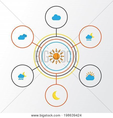 Weather Flat Icons Set. Collection Of Cloud, Overcast, Sun And Other Elements