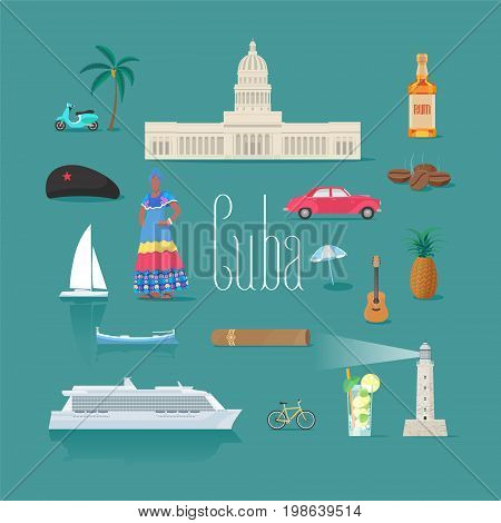 Set of icons with Cuban landmarks in vector. Che rum car symbols as visit Cuba design elements