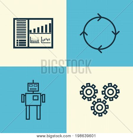 Learning Icons Set. Collection Of Mechanism Parts, Cyborg, Recurring Program And Other Elements